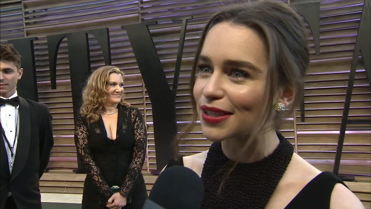 Emilia Clarke of Game of Thrones (Daenerys Targaryen) talks to OTRC.com at the Vanity Fair Oscars after party on March 2, 2014.