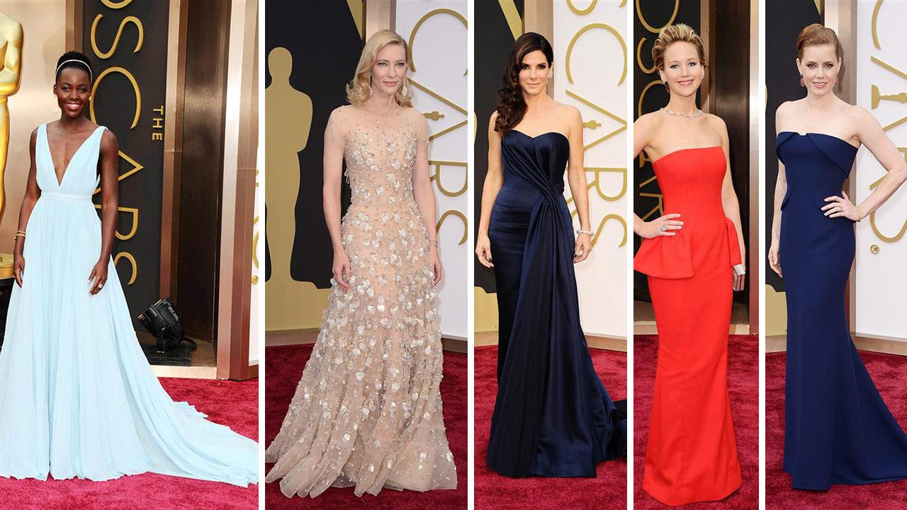 Lupita Nyongo, Cate Blanchett, Sandra Bullock, Jennifer Lawrence and Amy Adams appear at the 2014 Oscars red carpet on March 2, 2014.
