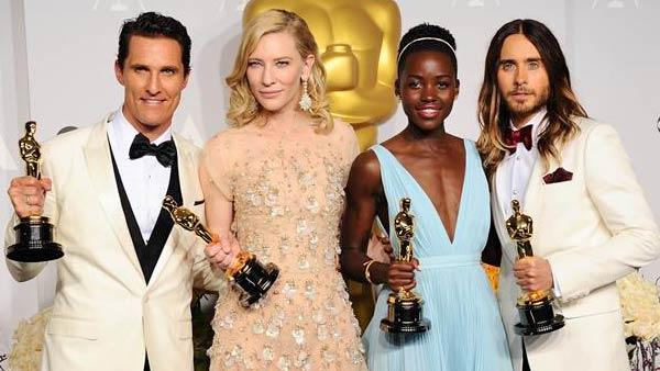 Matthew McConaughey, Cate Blanchett, Lupita Nyongo and Jared Leto appear in the press room at the 2014 Oscars on March 2, 2014. - Provided courtesy of Kyle Rover/startraksphoto.com