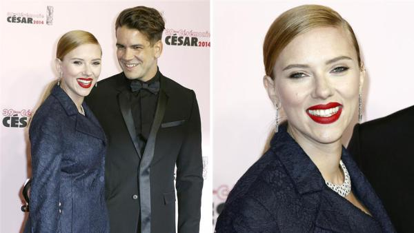 Scarlett Johansson and fiance Romain Dauriac appear at the Cesar Film Awards in Paris on Feb. 28, 2014. The actress received an honorary award for her film work. It was reported on March 3 that she is pregnant. This would be the actress' first child..com
