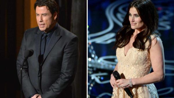 John Travolta and Idina Menzel appear at the 2014 Oscars on March 2, 2014, where he mispronounced her name as Adele Dazeem. - Provided courtesy of John Shearer/Invision/AP