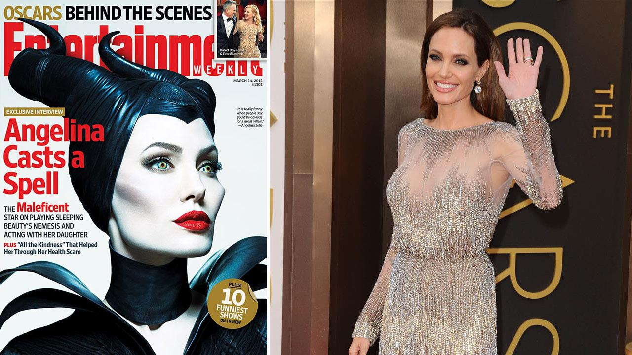 Angelina Jolie appears at the 2014 Oscars on March 2, 2014.  / Jolie appears on the cover of Entertainment Weeklys March 14, 2014 issue.