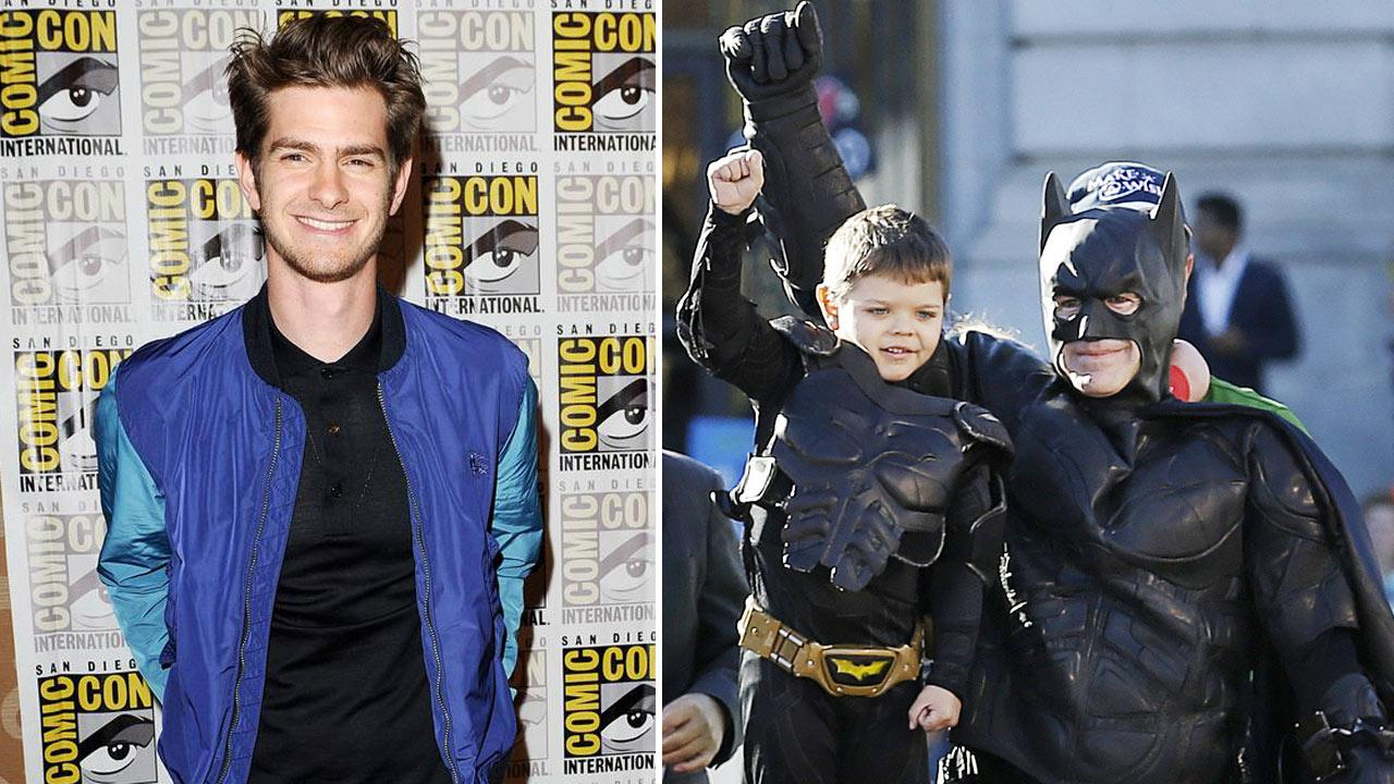 Andrew Garfield appears at Comic Con in San Deigo, California on July 19, 2013. / This Nov. 15, 2013, file photo, shows Miles Scott, 5, dressed as Batkid, second from left, raising his arm next to Batman at a rally outside of City Hall  in San Francisco.