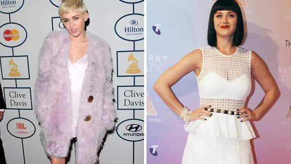 Miley Cyrus appears at the Clive Davis pre-Grammy party in January 2014. Katy Perry appears at a promotional appearance for her Prismatic World Tour in Syndey, Australia on March 4, 2014. - Provided courtesy of Sara De Boer / Scope / Abacausa / startraksphoto.com
