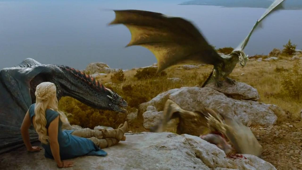 Emilia Clarke appears as Daenerys Targaryen in a scene from season 4 of the HBO series Game of Thrones.