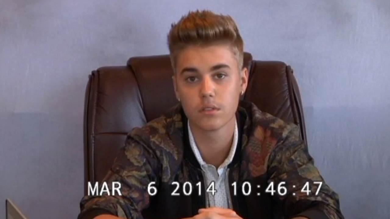 Justin Bieber appears in a video deposition in Miami on March 6, 2014, stemming from a civil assault case filed against him by a former bodyguard.