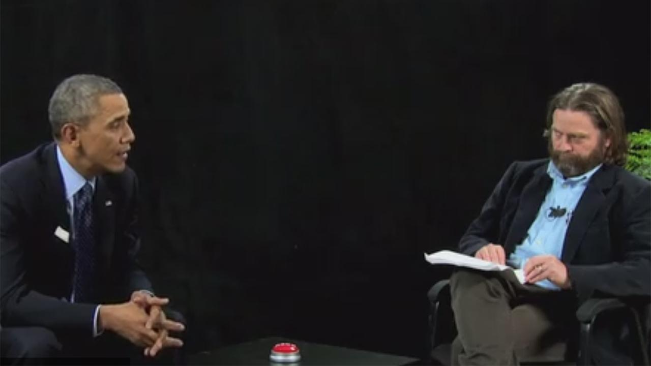 Zach Galifinakis interviews President Barack Obama on his online show Between Two Ferns. The video was posted on FunnyOrDie.com on March 11, 2014.