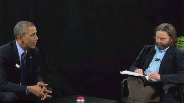 Zach Galifinakis interviews President Barack Obama on his online show Between Two Ferns. The video was posted on FunnyOrDie.com on March 11, 2014. - Provided courtesy of FunnyOrDie.com