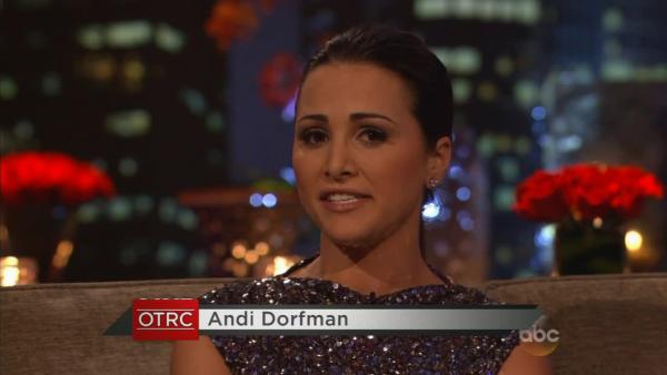 Former Bachelor contestant Andi Dorfman appears on The Bachelor: After The Final Rose following the season 18 finale on ABC on March 10, 2014. She was named the star of the upcoming 10th season of sister series The Bachelorette.