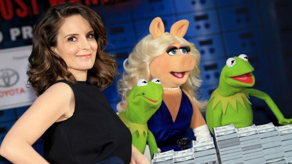 (L-R) Actress Tina Fey, Constantine, Miss Piggy and Kermit the Frog arrive at the world premiere of Disneys Muppets Most Wanted at the El Capitan Theatre on March 11, 2014 in Hollywood, California. - Provided courtesy of Christopher Polk/Getty Images for Disney