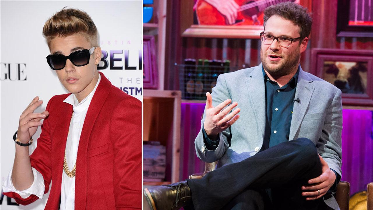Seth Rogen appears on Watch What Happens Live on March 12, 2014. / Justin Bieber apears at the Los Angeles premiere of Believe on Dec. 18, 2013.