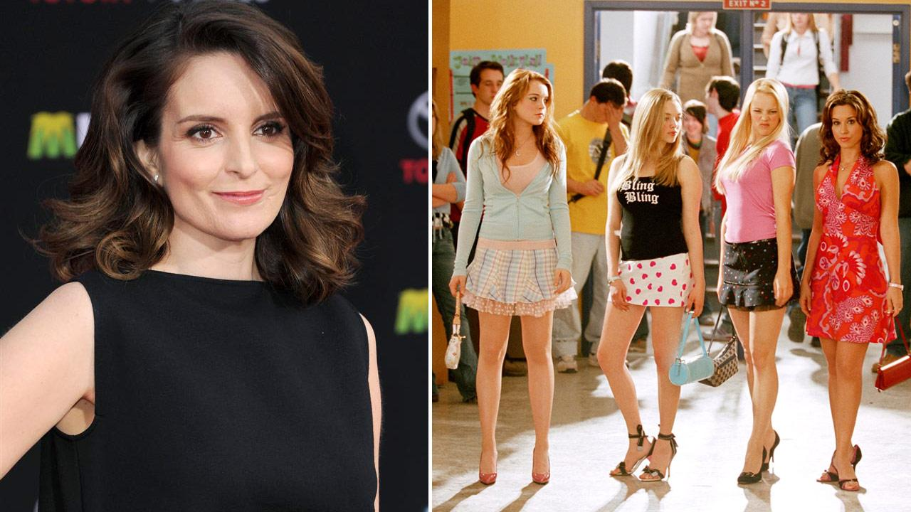 Tina Fey appears at the Hollywood premiere of Muppts Most Wanted on March 11, 2014. / The cast of Mean Girls appears in a scene from the 2004 film.