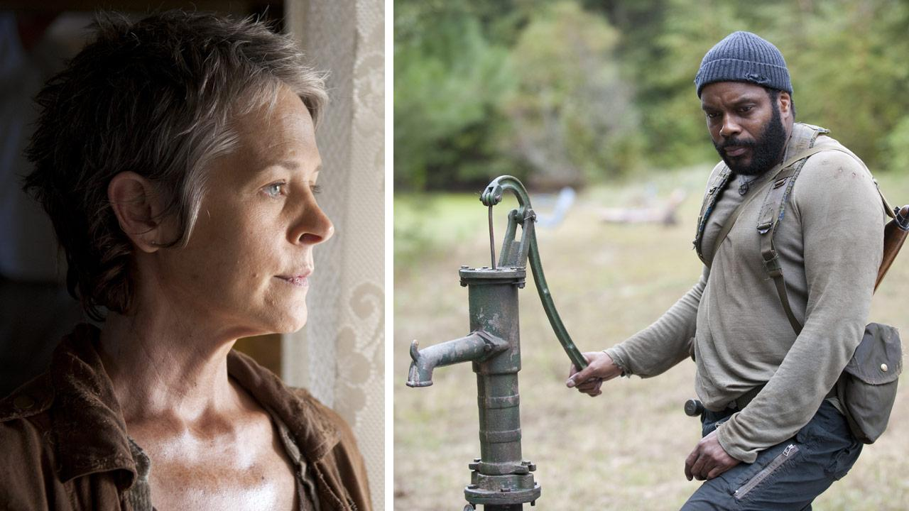 Melissa McBride appears as Carol and Chad L. Coleman appears as Tyreese in scenes from AMCs The Walking Dead, season 4, episode 14 -- The Grove -- that aired on March 16, 2014.