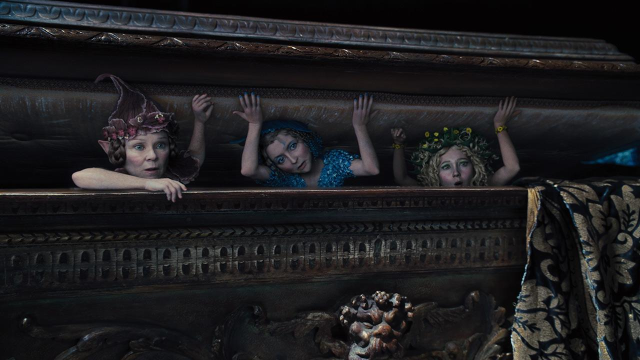 L-R: The fairies Knotgrass, Flittle and Thistletwit (voiced by Imelda Staunton of Harry Potter fame, Lesley Manville and Juno Temple) appear in a scene from the 2014 Disney film Maleficent. <span class=meta>(Walt Disney Studios)</span>