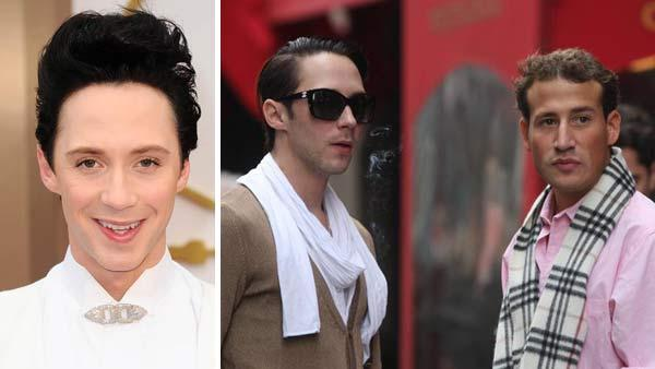 Left - Johnny Weird appears at the 2014 Oscars in Los Angeles, California on March 2, 2014. Right - Johnny Weir appears with Victor Voronov in New York City on Nov. 27, 2011.