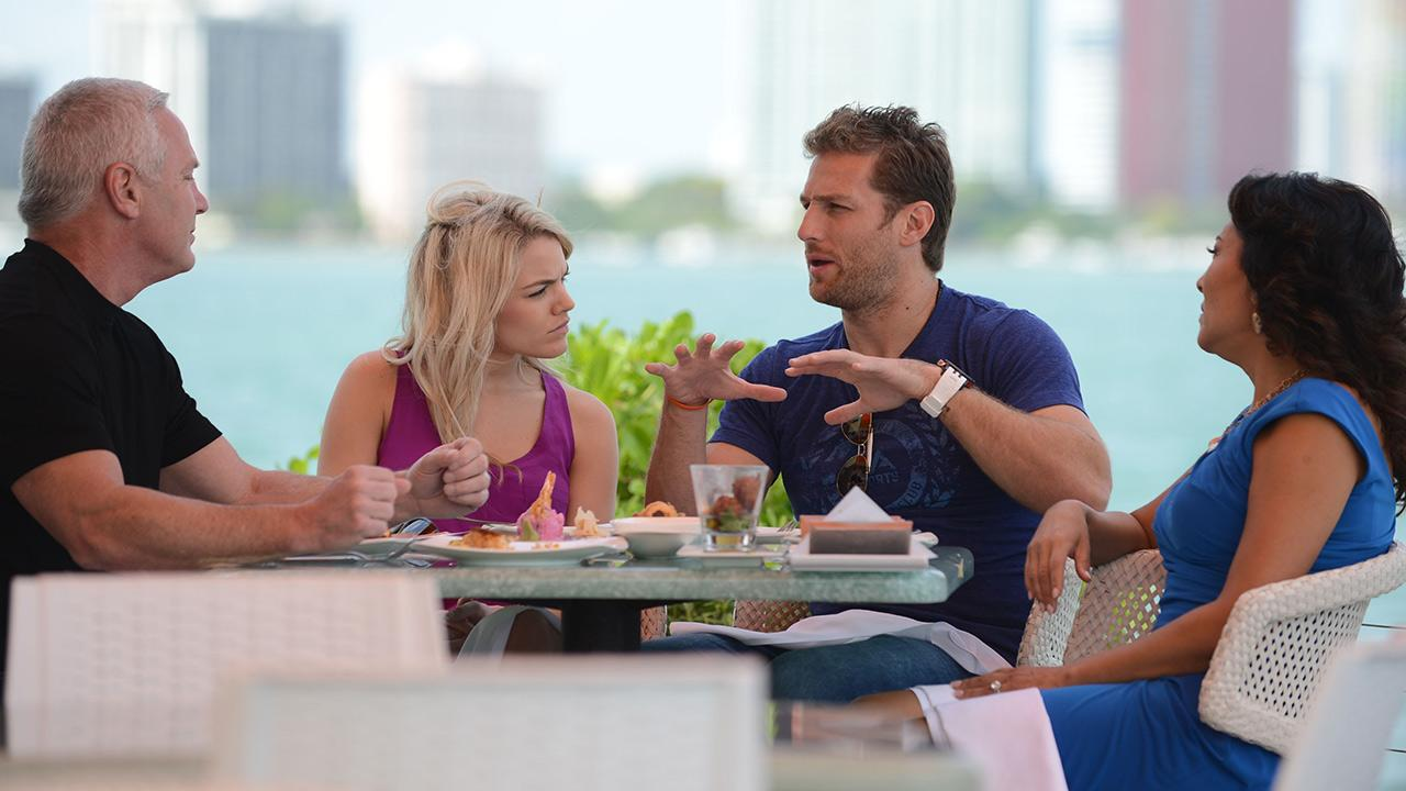 Juan Pablo Galavis, star of ABCs The Bachelor season 18, and winner Nikki Ferrell, have lunch with Jim and Elizabeth Carroll, stars of the WE tv reality show Marriage Boot Camp, at Rusty Pelican Miami on March 18, 2014.