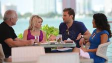 Juan Pablo Galavis, star of ABCs The Bachelor season 18, and winner Nikki Ferrell, have lunch with Jim and Elizabeth Carroll, stars of the WE tv reality show Marriage Boot Camp, at Rusty Pelican Miami on March 18, 2014. - Provided courtesy of Seth Browarnik / WorldRedEye.com
