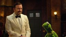 Ricky Gervais and the evil Kermit look-alike Constantine appear in a clip from the 2014 movie Muppets Most Wanted. - Provided courtesy of none / Walt Disney Pictures
