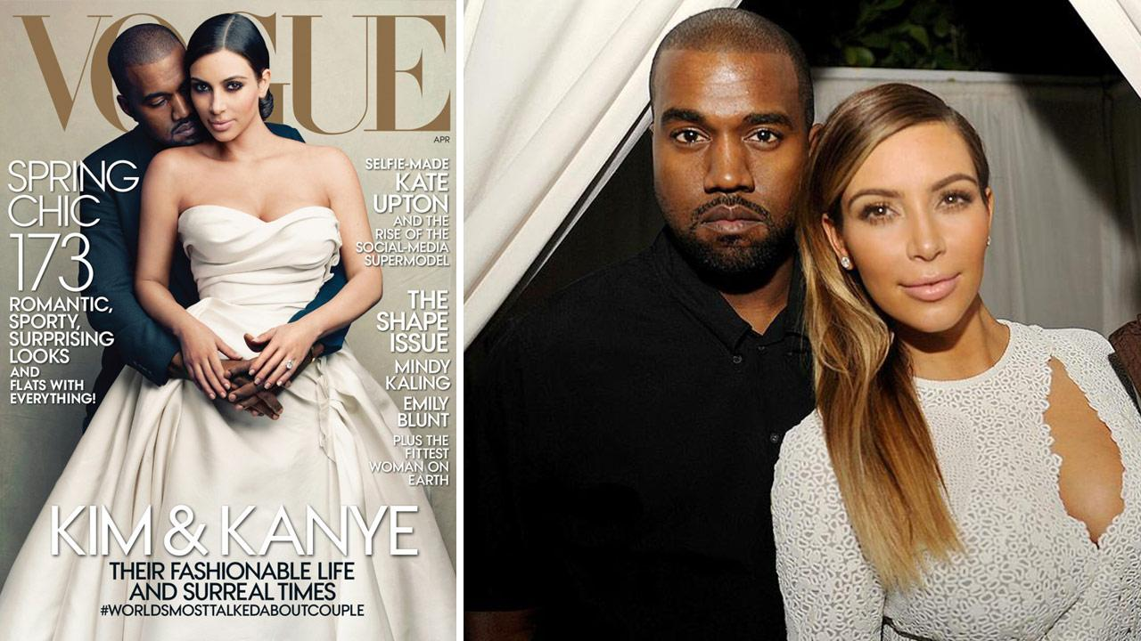 Kim Kardashian and Kanye West appear on the cover of Vogues April 2014 issue. / Kanye West and Kim Kardashian appear at an event in Miami Beach on Dec. 4, 2013.