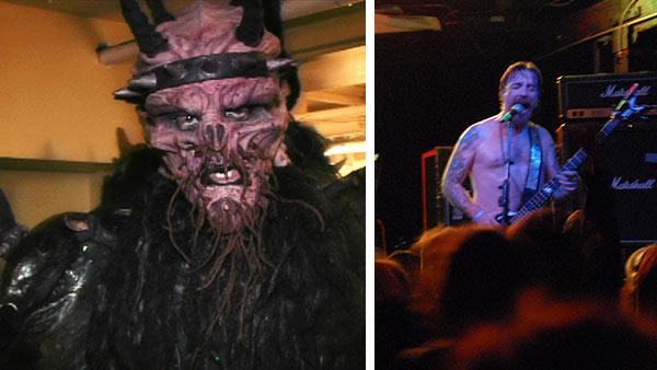 Dave Brockie appears as GWAR frontman Oderus Urungus at a press conference in 2010. Brockie died on March 23, 2014. / Brockie performs with the Dave Brockie Experience band at a tribute concert to lCory Smoot in Richmond in 2012.