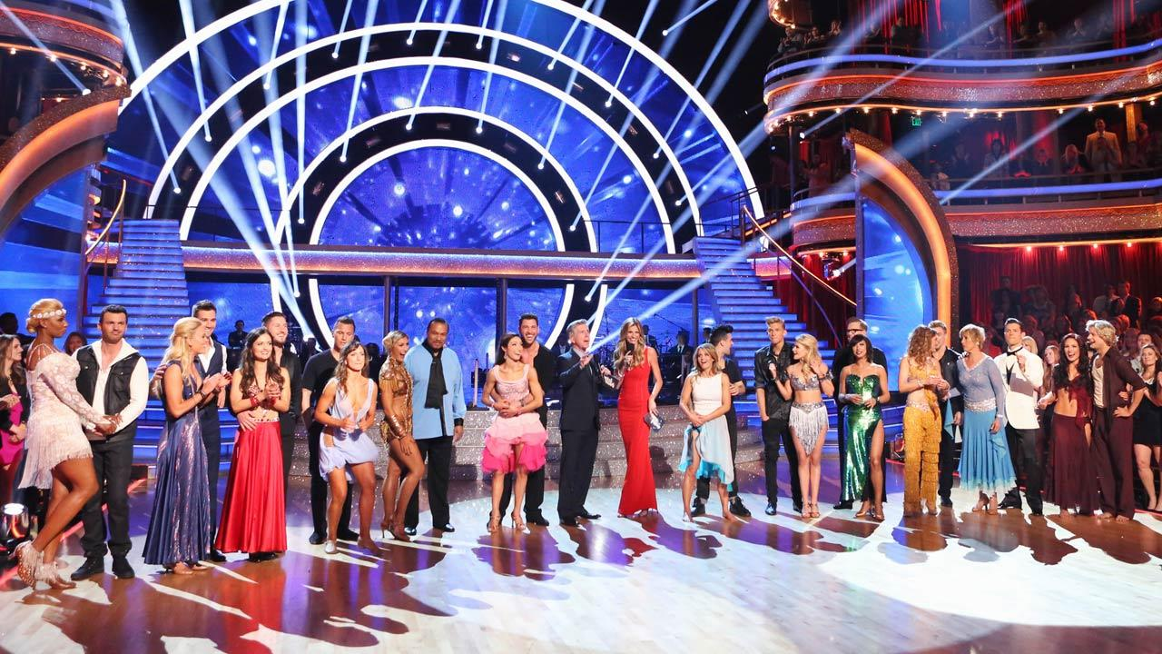 The cast of Dancing With The Stars season 18 appears on the premiere on March 17, 2014.