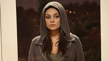 Mila Kunis appears on the April 10, 2014 episode of Two and a Half Men alongside Ashton Kutcher. - Provided courtesy of Sonja Flemming / CBS