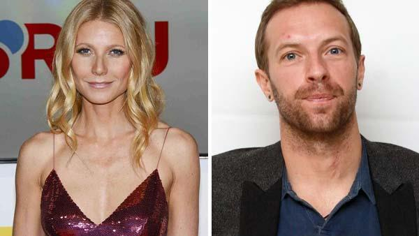 Left - Gwyneth Paltrow appears at the 49th annual Golden Camera Awards in Berlin on Feb. 1, 2014. Right - Chris Martin appears at a press conference for 'The Hunger Games: Catching Fire' in Los Angeles, California on Nov. 8, 2013.