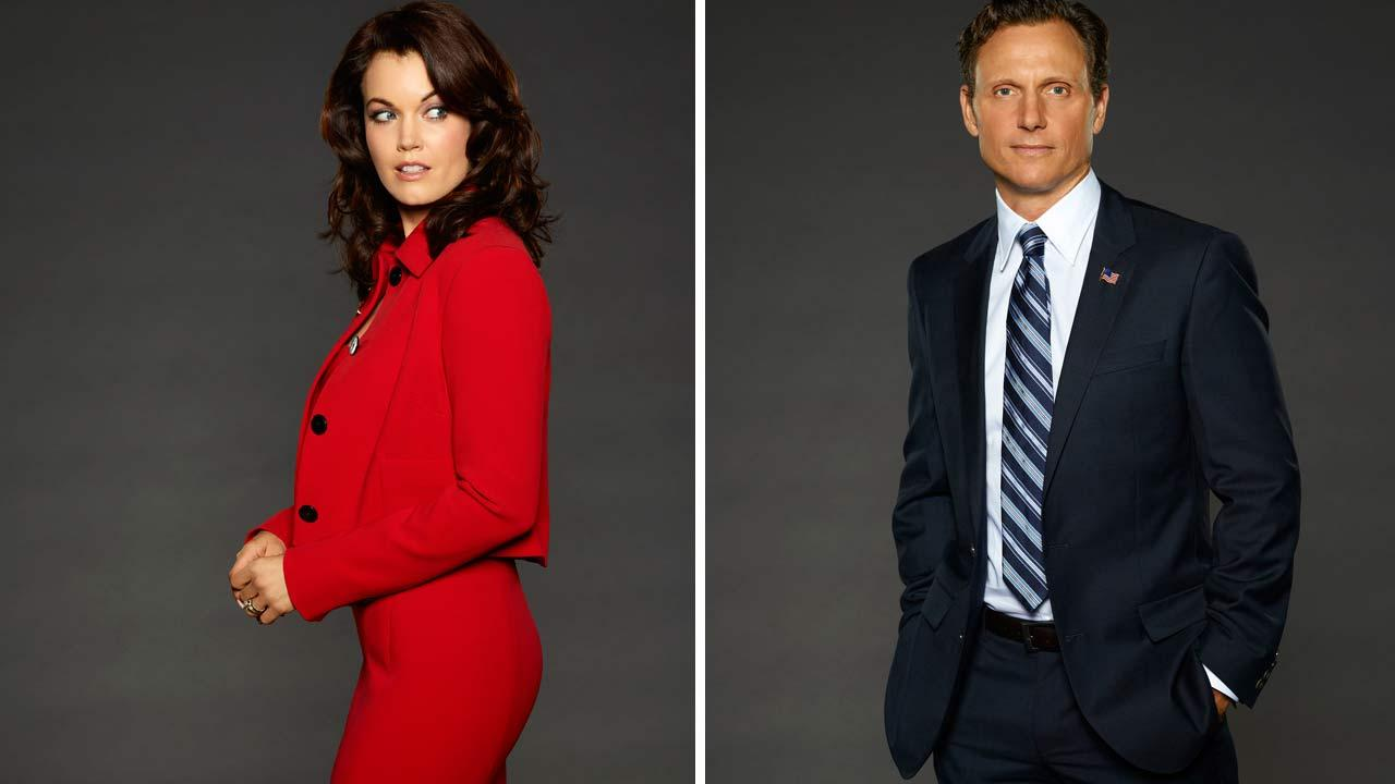 Bellamy Young and Tony Goldwyn appear in season 3 promotional photos for Scandal.
