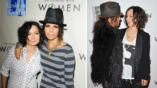 Sara Gilbert and Linda Perry, former singer of 4 Non Blondes, attend the L.A. Gay and Lesbian Center Kick-Off Concert at The Roxy in Los Angeles on March 15, 2014. / The two appear at the centers event on May 18, 2013. Gilbert and Perry wed on March 30. - Provided courtesy of Daniel Robertson / Giulio Marcocchi / Startraksphoto.com