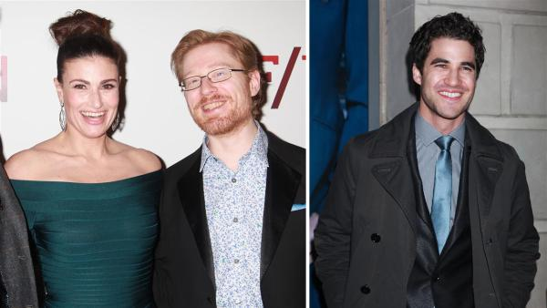 Idina Menzel, Anthony Rapp and Darren Criss of Glee fame attend the opening night of the new Broadway musical If/Then at the Richard Rodgers Theatre in New York on March 30, 2014. - Provided courtesy of Adam Nemser / Startraksphoto.com