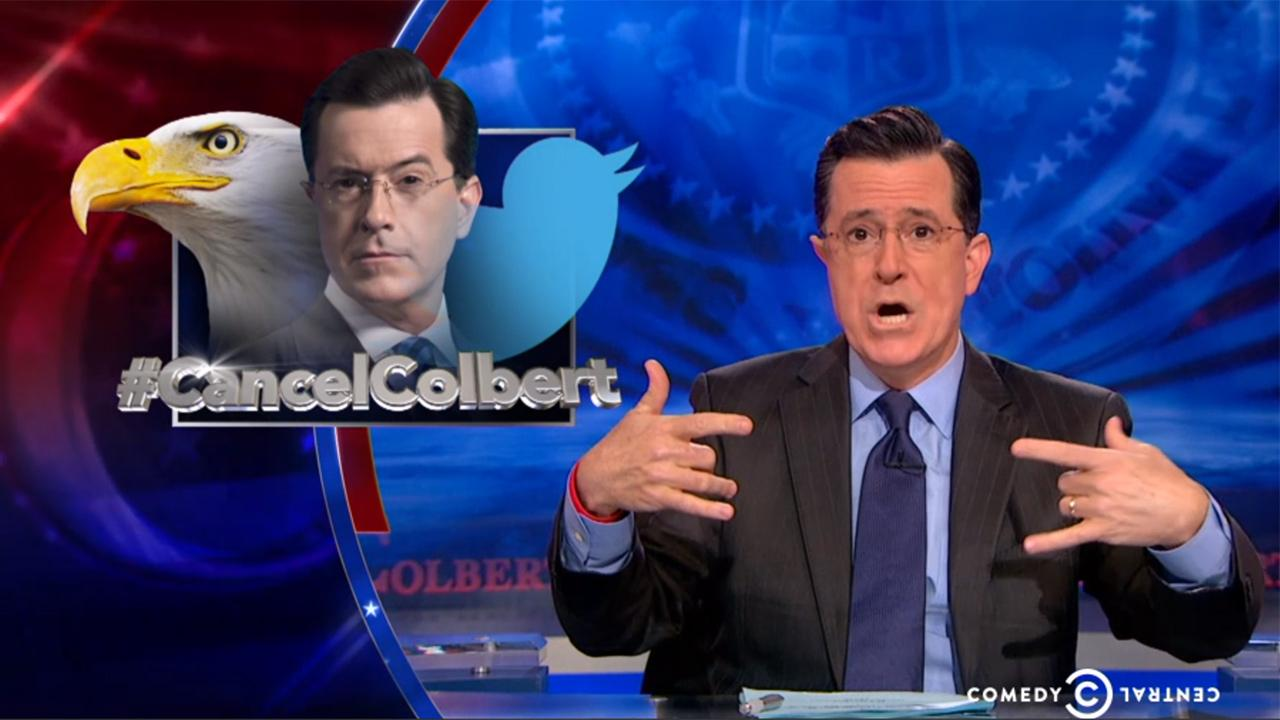 Stephen Colbert appears on the Comedy Central series The Colbert Report on March 31, 2014 to address the CancelColbert controversy. On the episode, he said he is not a racist and made jokes referencing Hitler and Jesus.