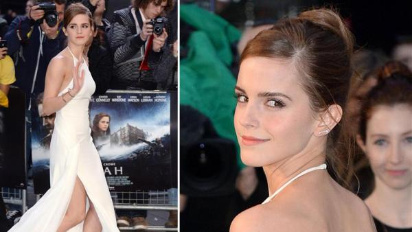 Emma Watson, wearing a one-of-a-kind, flowing, white Ralph Lauren collection halter gown, appears at the Noah London premiere on March 31, 2014. - Provided courtesy of OTRC