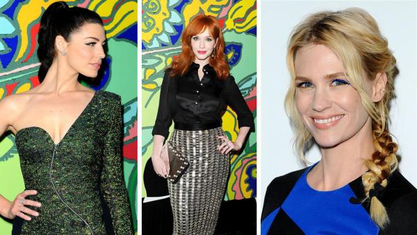 Jessica Pare, Christina Hendricks and January Jones appear at the season 7 premiere of AMCs Mad Men in Hollywood, California on April 2, 2014. - Provided courtesy of Daniel Robertson / Startraksphoto.com
