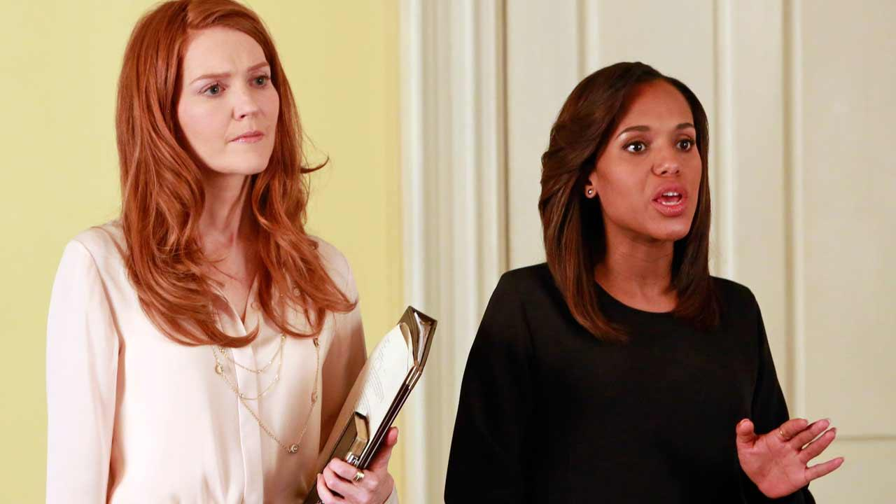 Kerry Washington and Darby Stanchfield appears in a scene from ABCs Scandal, season 4, episode 16 - The Fluffer, which aired on April 3, 2014.