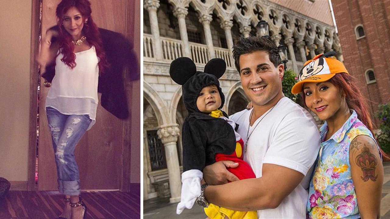 Nicole Snooki Polizzi appears in a photo posted on her Instagram page on April 3, 2014, a day before she announced she is pregnant with her second child. / Snooki appears with son Lorenzo and fiance Jionni LaValle at Walt Disney World on Sept. 27, 2013.