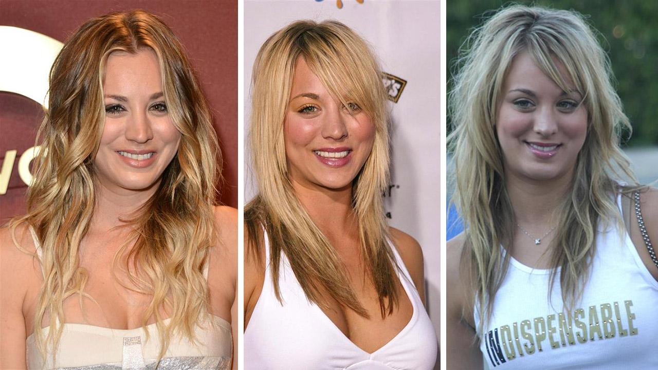 Kaley Cuoco-Sweeting, 28, attends a QVC event on Feb. 28, 2014. / Cuoco-Sweeting, 18, appears at a Rock the Vote event in 2004. / Cuoco, 17, attends the Teen Choice Awards on Aug. 2, 2003. She told Cosmopolitan in 2014 that she got breast implants at 18.