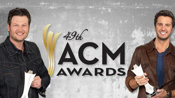 Blake Shelton and Luke Bryan, co-hosts of the 2014 ACM Awards, appear in a publicity photo for the ceremony, which airs on CBS on April 6, 2014 at 8 p.m. ET. - Provided courtesy of Academy of Country Music / CBS