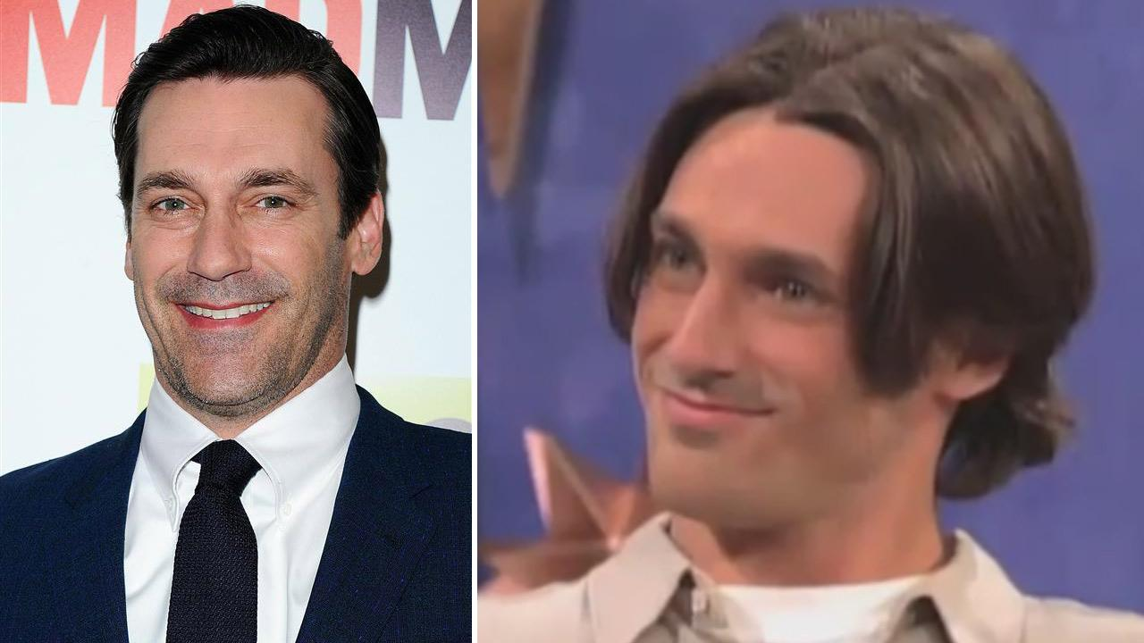 Jon Hamm appears in an episode of The Big Date in 1996. / Jon Hamm appears at the season 7 premiere of Mad Men in Hollywood on April 2, 2014.