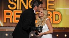Blake Shelton and Miranda Lambert appear at the 49th annual Academy of Country Music (ACM) Awards on April 6, 2014. - Provided courtesy of Chris Pizzello/Invision/AP