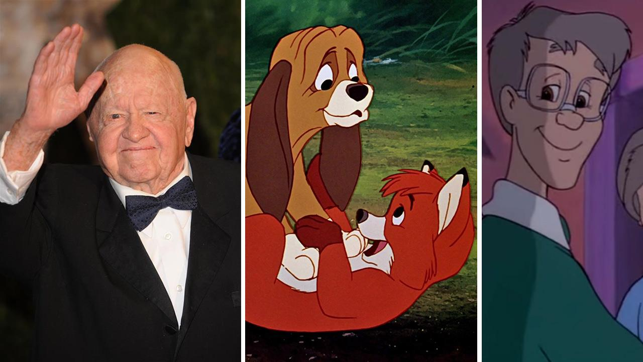 Mickey Rooney appears at Vanity Fairs 2010 Oscars after party in West Hollywood, California on March 7, 2010. The actor died at age 93 on April 6, 2014. / His characters are seen in scenes from The Fox and the Hound and The Care Bears Movie.