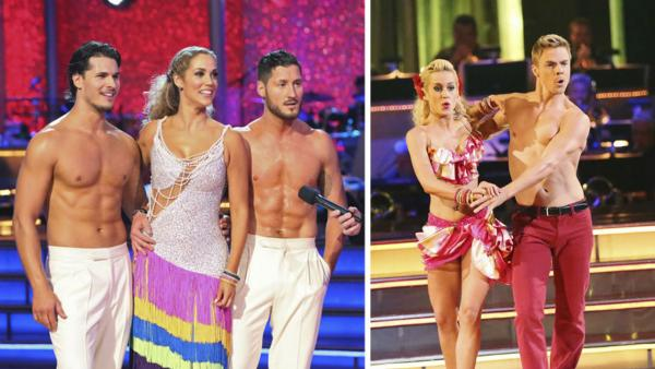 Elizabeth Berkley appears with Val Chmerkovskiy and Gleb Savchenko and Kellie Pickler appears with Derek Hough on 'Dancing With The Stars' in 2013.