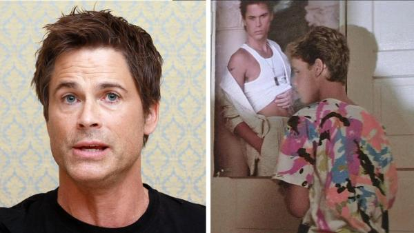 Rob Lowe attends a Killing Kennedy press conference on Oct. 15, 2013. / A poster of Rob Lowe and Corey Haim appear in the 1987 movie The Lost Boys. - Provided courtesy of Munawar Hosain / Startraksphoto.com / Warner Bros. Pictures