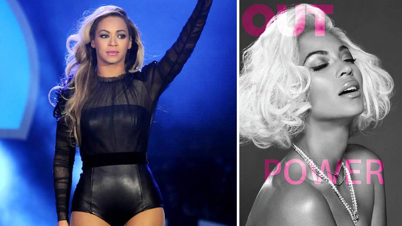 Beyonce Knowles appears at he Sound Of Change Live Concert in London on June 1, 2013. / Beyonce appears on the May 2014 cover of Out magazine.