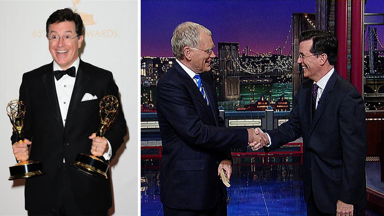 Stephen Colbert, host of Comedy Centrals The Colbert Report, appears with his two Emmys at the 2013 Emmy Awards on Sept. 22, 2013. / Stephen Colbert shakes hands with David Letterman on The Late Show with David Letterman on a May 4, 2011 episode.