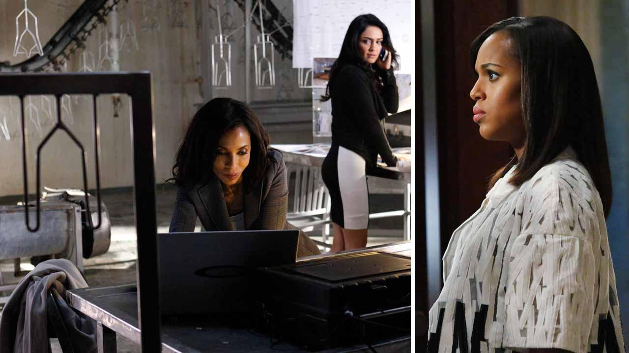Khandi Alexander, Nazanin Boniadi and Kerry Washington appear in Scandal season 3 episode 17 titled Flesh and Blood, which aired on April 10, 2014.