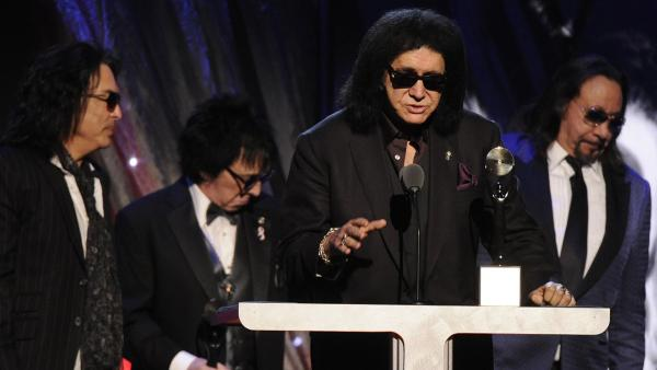 Hall of Fame Inductees, KISS, Paul Stanley, Peter Criss, Gene Simmons, and Ace Frehley speak at the 2014 Rock and Roll Hall of Fame Induction Ceremony on Thursday, April, 10, 2014 in New York. - Provided courtesy of Charles Sykes/Invision/AP