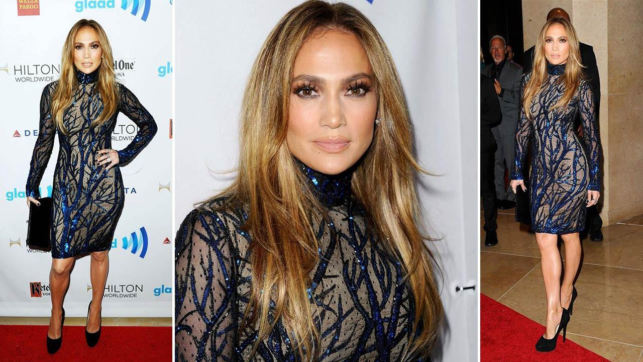 Jennifer Lopez appears at the 25th Annual GLAAD Media Awards in Beverly Hills, California, on April 12, 2014.