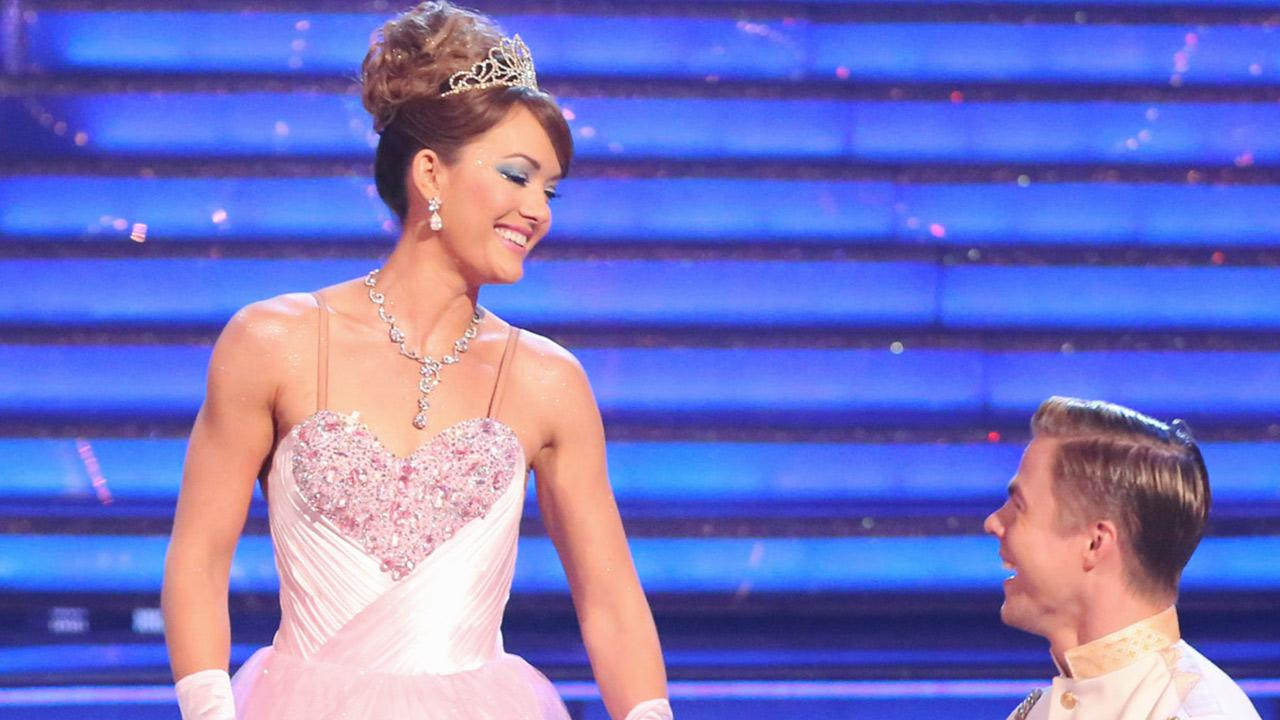Amy Purdy and Derek Hough perform a Cinderella-themed Waltz on week 5 of Dancing With The Stars season 18 -- Disney Night -- on April 14, 2014. They received 37 out of 40 points from the judges for their dance.
