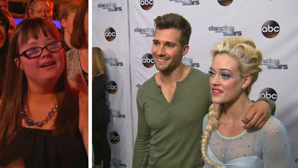 James Maslow, Peta Murgatroyd talk to OTRC.com after week 5 on Dancing With The Stars season 18 on April 14, 2014. / Hannah Wackernagle, who posted a video asking Maslow to prom, cheers for him and Murgatroyd in the DWTS audience.