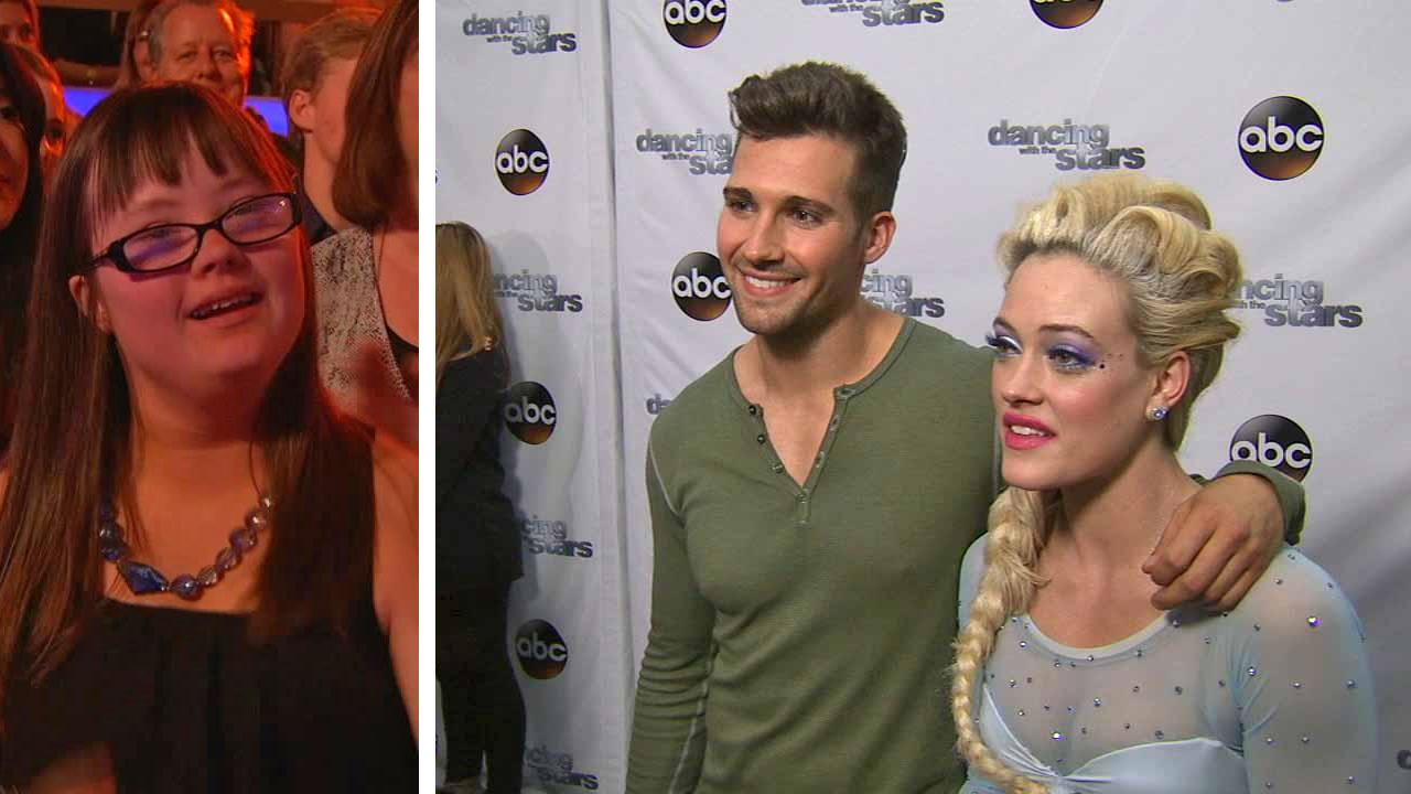 Peta Murgatroyd talk to OTRC.com after week 5 on Dancing With The Stars season 18 on April 14, 2014. / Hannah Wackernagle, who posted a video asking Maslow to prom, cheers for him and Murgatroyd in the DWTS audience.